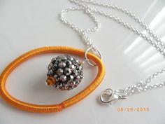 Orange crystal gray disco ball beads handmade new design silver chain necklace $8.99