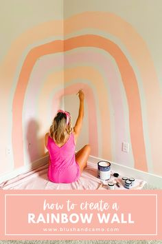 How to create a gorgeous rainbow wall in your home, perfect for a bedroom or nursery! #homedecoridea #diyproject #diyhomedecor