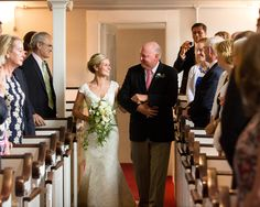 Be sure to look at your dad as he walks you down the aisle.  This looks much better than seemingly staring off into space. He Married the Girl Next Door: Katie and Sander's Wedding in Duxbury » Fucci's Photos of Boston | Boston Wedding Photographer