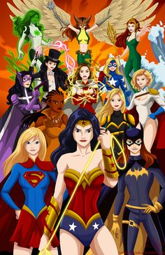 Girl Power! All female Justice League! Wonder Woman, Supergirl, Batgirl, Vixen, Black Canary, PowerGirl, Huntress, Mary Marvel, StarGirl, Zatana, Mera, Jade and Hawkgirl. This is going to be available HavenCon April 4th and 5th. •Robby Cook