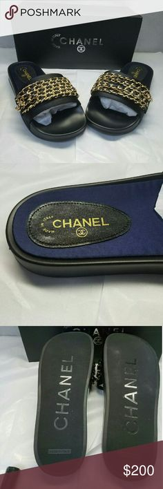 Women Chanel flops Brand new women Chanel chain sandals comes with box CHANEL Shoes Sandals