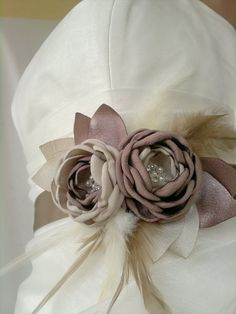 Handcrafted Fabric Light Brown and Light Khaki sand Coloured Wedding dress Sash Belt. $39.50, via Etsy.
