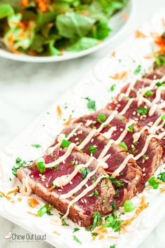 Marinated Seared Ahi - Chew Out Loud Here's the most amazing seared ahi you can make at home! So easy, healthy, and delicious as an appetizer or light dinner! Fish Recipes, Seafood Recipes, Cooking Recipes, Healthy Recipes, Recipies, Fish Dishes, Seafood Dishes, Main Dishes, Carpaccio