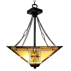 """Features:  -Includes chain.  -Tiffany collection.  -Number of lights: 3.  -292 Glass cuts.  -Bulb type: 100W bulb (not included).  -Length: 72"""".  Product Type: -Inverted pendant.  Style (Old): -Tiffan"""