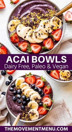 This easy paleo and vegan acas bowl recipe is healthy, made with cashew butter and is full of protein, fat, and fiber. Learn how to make this homemade recipe, and it will become your new favorite! #acaibowl #veganrecipes #breakfast #acai #paleo