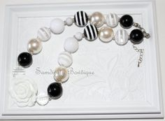 Black and White Chunky Bubblegum Bead Necklace by SamdipityBowtique on Etsy, $21.95