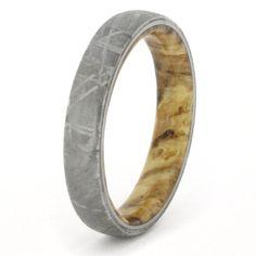 Meteorite Ring with Black Ash Burl Wood Sleeve, Wedding Band