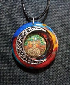 As Above So Below Tree of Life and Moon in Multicoloured Pearl Resin + Free Shipping Worldwide ~ tree of life jewelry, spiritual jewelry by OurArtyCreations on Etsy
