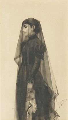 I sorg / the widow / In mourning. Painted in London in 1833. Watercolour on paper. 18.5 x 10.5 cm. Art by Anders Zorn.(1860-1920).