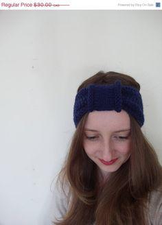 READY TO SHIP knitted retro turban headband in navy blue / vegan