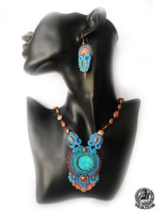 Blue and Copper soutache set