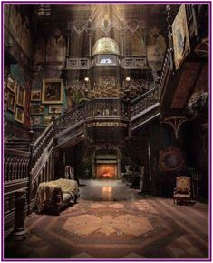 Looks like it's from the movie Crimson Peak. It may be a real place, but it definitely looks like the house in Crimson Peak Gothic Architecture, Beautiful Architecture, Beautiful Buildings, Interior Architecture, Beautiful Places, Interior Design, Interior Decorating, Decorating Ideas, Stairway Decorating