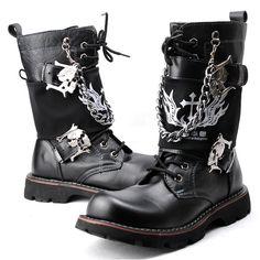Men Black Leather Lace Up Skeleton Gothic Punk Biker Combat Boots SKU-1280626
