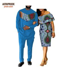 2018 Spring Casual Couple Suit Afripride Mens Full Length Long Shirt+Pants And Butterfly Sleeve Knee-Length Women Dress A18C001