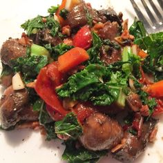 Don't have time to cook from scratch? Repurpose food from Whole Foods Market ... I was inspired by my friend Stephanie Quilao of Vibrantly who sometimes creates recipes from the cold/hot food bar.  Seen here: mushrooms and bell peppers from the hot bar, dill, scallion and carrots from the cold bar. Sautéed and then I added my own fresh kale, slivered garlic, thyme, salt and pepper, plus pecans. So good!