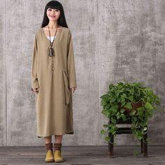 Women long sleeve loose pullover cotton linen dress