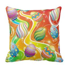 Happy Easter Eggs Ornamental Design Pillows