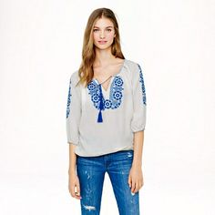 J.Crew blue and white tunic