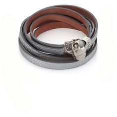 Alexander McQueen Skull Metallic Leather Double-Wrap Bracelet (2.710 NOK) ❤ liked on Polyvore featuring jewelry, bracelets, apparel & accessories, silver, leather wrap bracelet, skull jewelry, alexander mcqueen bangle, metallic jewelry and leather bangle