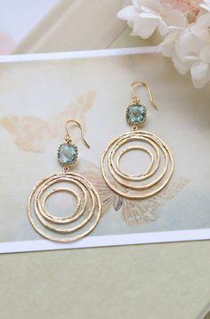 Aquamarine Blue Glass Gold Swirl Hoop Earrings, Gold Circle, Modern Everyday Earrings, Boho Chic Bohemian Hoop dangle Earrings