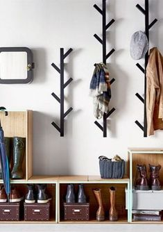 Avoid entryway clutter with open storage boxes for shoes and racks for hats and jackets - 27 Lovely Diy Coat Hanger Concept Wall Mounted Shoe Storage, Coat And Shoe Storage, Entryway Shoe Storage, Shoe Storage Rack, Diy Shoe Rack, Ikea Storage, Wall Storage, Storage Boxes, Entryway Decor