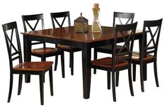 Cosmo Transitional Cherry Black Rubberwood 7pc Dining Room Set