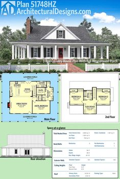 Architectural Designs House Plan gives you a full wraparound porch outsi. Architectural Designs House Plan gives you a full wraparound porch outside and an open concept floor plan inside. Ready when you are. Where do YOU want to build? House Plans One Story, Country House Plans, Dream House Plans, Square House Plans, Country Houses, Rectangle House Plans, Southern House Plans, Architectural Design House Plans, Architecture Design