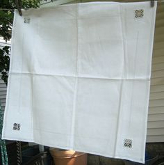 Vintage Fine Linen Tablecloth Drawn Thread by LavenderGardenCottag, $22.00