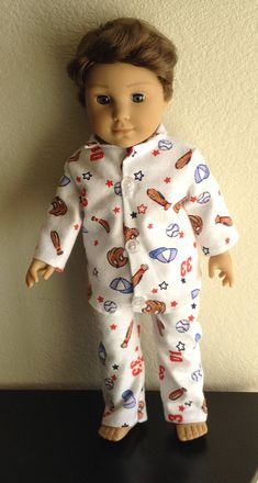 Winter Pajamas made to fit Dolls such as Logan American Girl All American Boy, Logan, Pajamas, Dolls, Trending Outfits, Winter, Handmade Gifts, Fitness, Unique