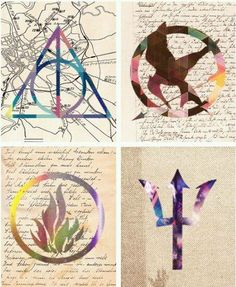Harry Potter/The Hunger Games/Divergent/Percy Jackson symbol art