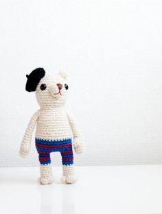 """Crocheted amigurumi soft toy soft sculpture by sofiasobeide, Gerard the French polar bear."" #Amigurumi #crochet"