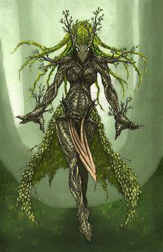 °Avatar of Melandru by Xen-chan Fantasy Races, Fantasy Warrior, Fantasy Rpg, Fantasy Artwork, Fantasy World, Forest Creatures, Magical Creatures, Fantasy Creatures, Creature Concept Art