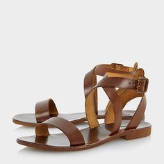 LOTTI - Sandales plates en cuir à brides croisées