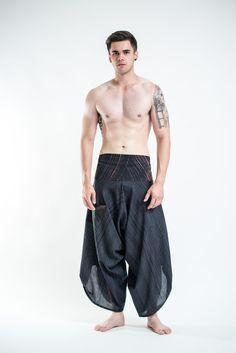 Men's Pinstripe Button Up Cotton Pants with Hill Tribe Trim Black