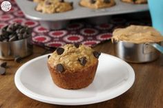 Peanut Butter Chocolate Chip Oat Muffins - A Kitchen Addiction