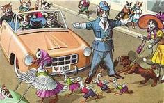 Eugene Hartung Artist Signed Mainzer Dressed Cats Police Duck Crossing Postcard Dressed cats fantasy by artist Eugen Hartung with cat policeman directing traffic for family of ducks crossing street. A