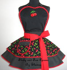 Rockabilly Red Cherry Apron by FlirtyandFunAprons on Etsy