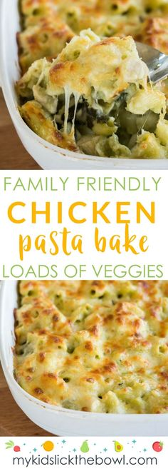 Chicken Pasta Bake A family friendly meal with spinach and cauliflower, hidden vegetables for picky eaters