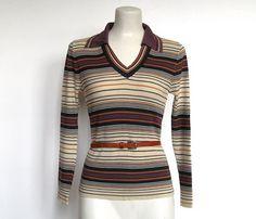 SOLD / #Vintage 1970s Boho / Collared V neck / Stripe Sweater by VelouriaVintage, $18.00