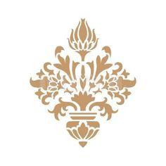 stencil deco adamascado 031 Drawing Stencils, Stencil Diy, Border Pattern, Pattern Art, Diy And Crafts, Paper Crafts, Arabic Pattern, Frame Wall Decor, Illustrations