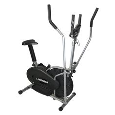 I J Fitness Elliptical Cross Trainer Bike 2 IN 1 Exercise Machine Upgrad Version With Heart Monitor. 2 In 1 elliptical cross trainer. Steel construction with large, non-slip pedals. Get a total body and cardiovascular workout including Legs, Glutes, Arms and Shoulders. Adjustable tension knob for your desired work out level. Dual-direction: forward and backward elliptical action. Chain-driven wheel runs smoothly. Digital monitor measures Time, Speed, Distance, Calories and Heart rate.