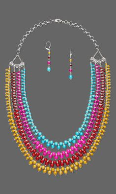 Colorful Necklace and Earring Set with Wonder Beads.  DIY jewelry  Design Idea D857 - Fire Mountain Gems and Beads