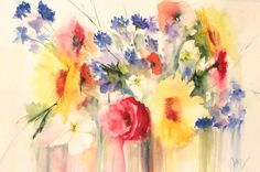 Flowers From A French Field. Watercolour by Vandy Massey