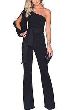 d1470e83b85 Women s Work Formal One Shoulder Formal Jumpsuits Wide Leg Long Romper  Pants with Belt  mariskelately