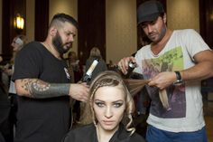#TONIANDGUY's Russel and Richard tag teaming a model for the #Rohmir AW13 catwalk show with the label.m Curling Tong and label.m Hairspray (spritzed on the hair before toning to help the curls stay in place!)