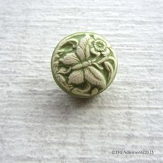 Butterfly button shank button green white button by THEAElements