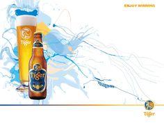 Enjoy Winning. Creative Poster Design, Creative Posters, Tiger Beer, Free Beer, Red Bull, Bar, Canning, Drinks, Beverages