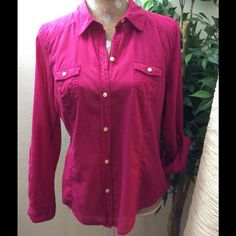 Hot pink old navy shirt. Button down hot pink shirt. Large. Long sleeves Old Navy Tops Tees - Long Sleeve