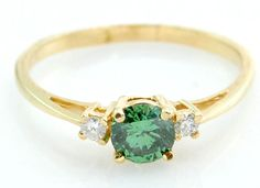 14k Yellow Gold .50ct Green Diamond Ring w/ Accents 7.75 No Reserve