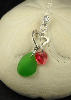 Green Sea Glass Necklace With Sterling Silver by seaglassgems4you, $36.00